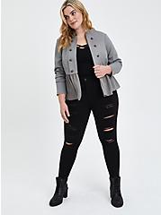Grey Fabric Mix Military Peplum Jacket, STORM, alternate