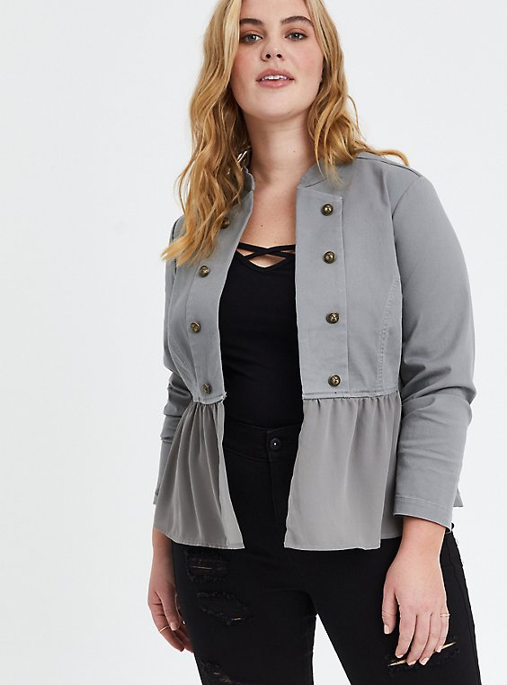 Grey Fabric Mix Military Peplum Jacket, STORM, hi-res