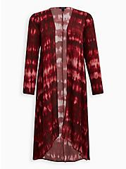 Wine Tie Dye Gauze Kimono, TIE DYE, hi-res