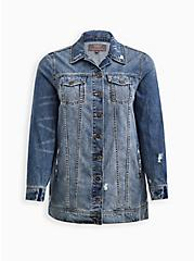 Medium Wash Longline Denim Jacket, MEDIUM WASHED DENIM, hi-res