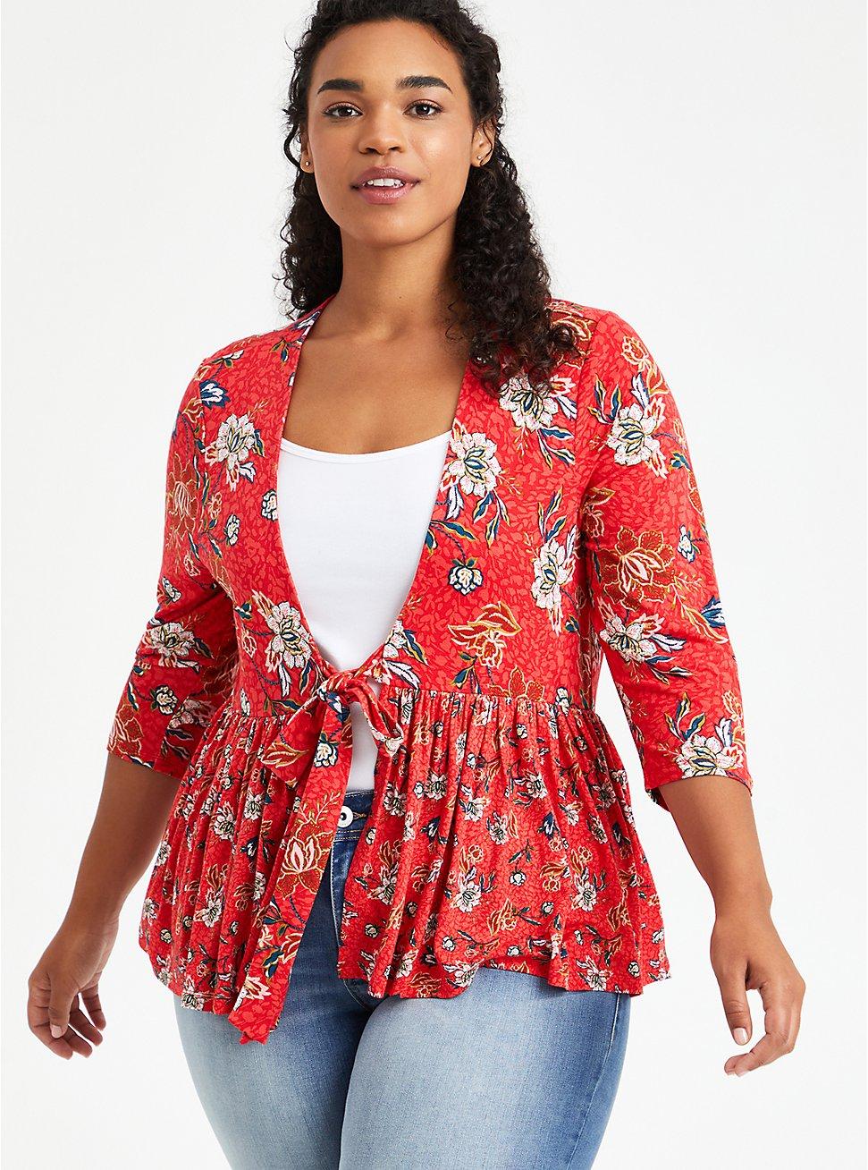 Babydoll Jacket - Crepe Floral Red, FLORAL - RED, hi-res