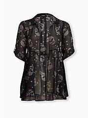 Kimono Shirt - Chiffon Skull, SKULL, hi-res