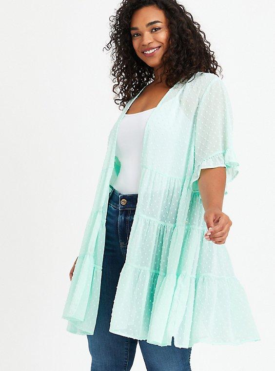Plus Size Clip Dot Ruffle Kimono - Green, DUSTY, hi-res