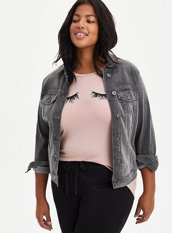 Grey Super Soft Denim Jacket, FALCON, hi-res