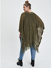 Plus Size Open Knit Ruana - Dusty Olive , , alternate
