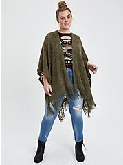 Plus Size Open Knit Ruana - Dusty Olive , , hi-res