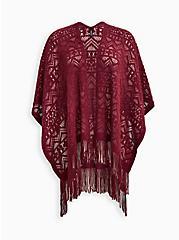Plus Size Open Knit Ruana - Burgundy, , hi-res