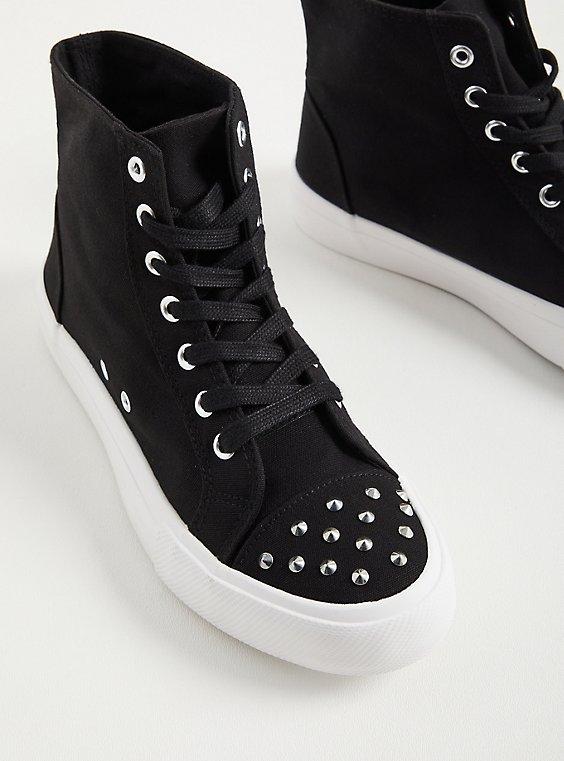 Studded Hightop Sneaker - Black Canvas (WW), BLACK, hi-res