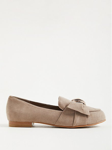 Twist Front Loafer (WW) - Faux Suede Taupe, TAUPE, alternate