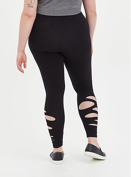 Plus Size Premium Legging with Side Destruction - Black , BLACK, alternate