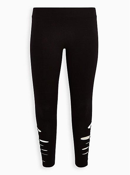 Plus Size Premium Legging with Side Destruction - Black , BLACK, hi-res