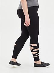 Premium Legging with Side Destruction - Black , BLACK, hi-res