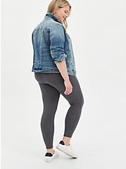 Crop Premium Legging with Pockets - Charcoal Grey, GREY, alternate