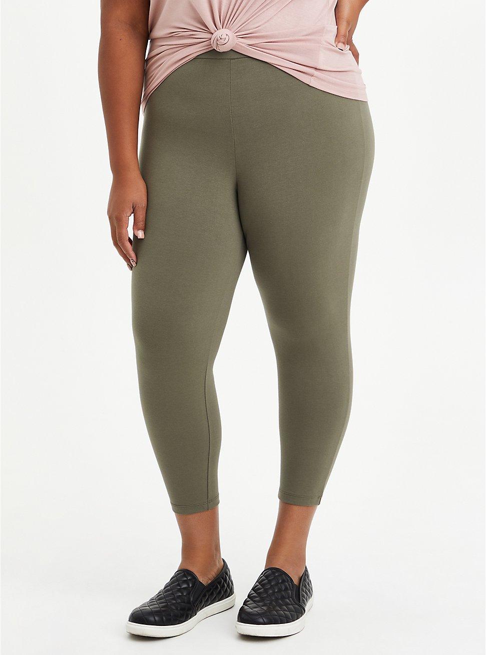 Crop Premium Legging - Olive, GREEN, hi-res