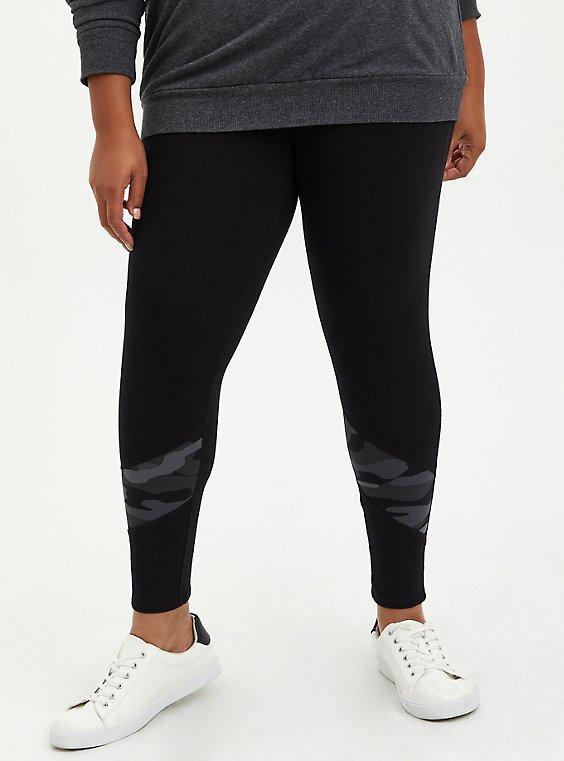 Premium Legging - Black with Camo Inset, BLACK, hi-res