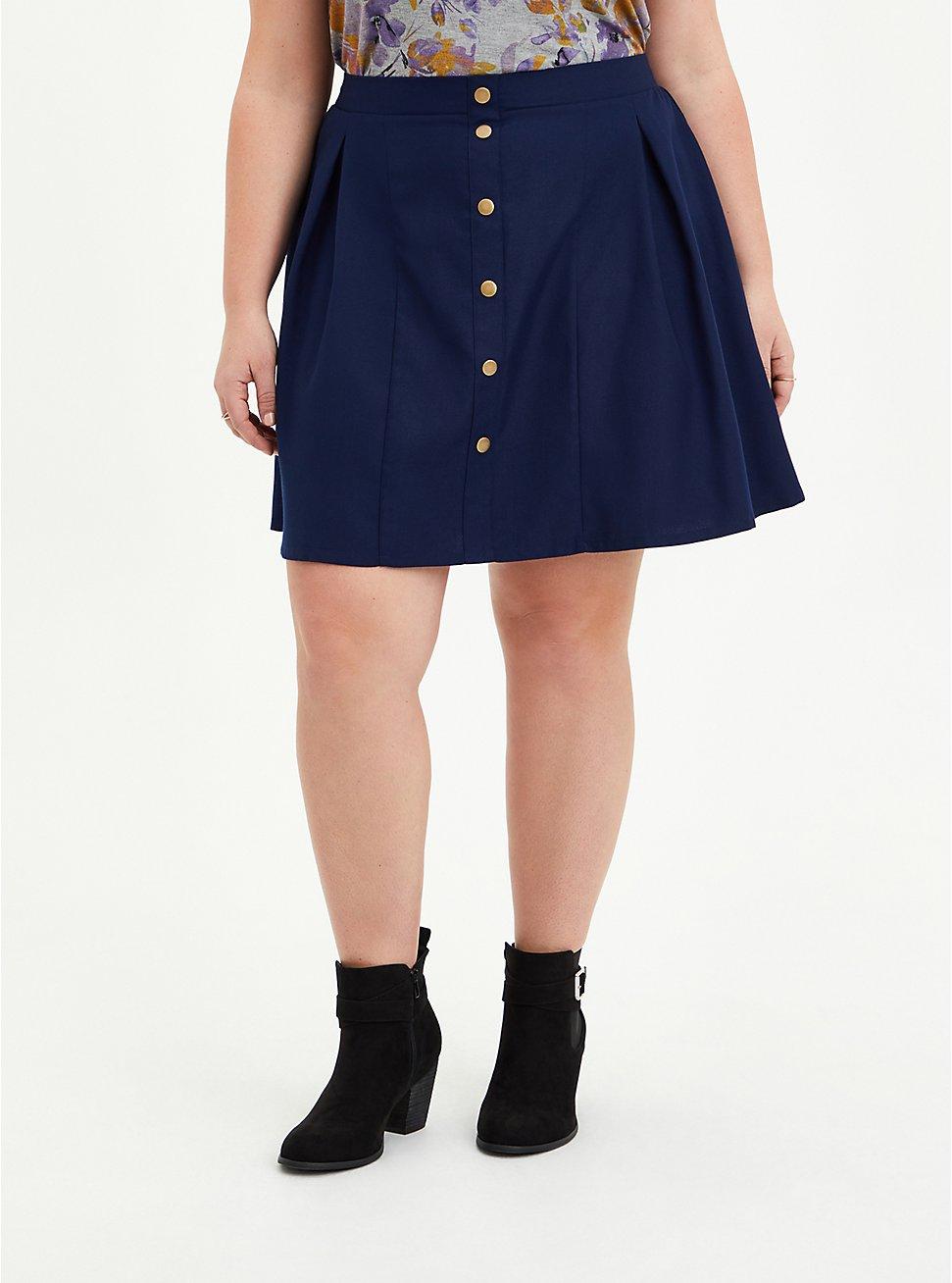 Skater Skirt - Twill Navy, PEACOAT, hi-res