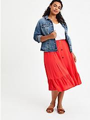 Midi Skirt - Challis Red, TOMATO RED, alternate