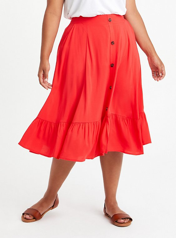 Midi Skirt - Challis Red, TOMATO RED, hi-res