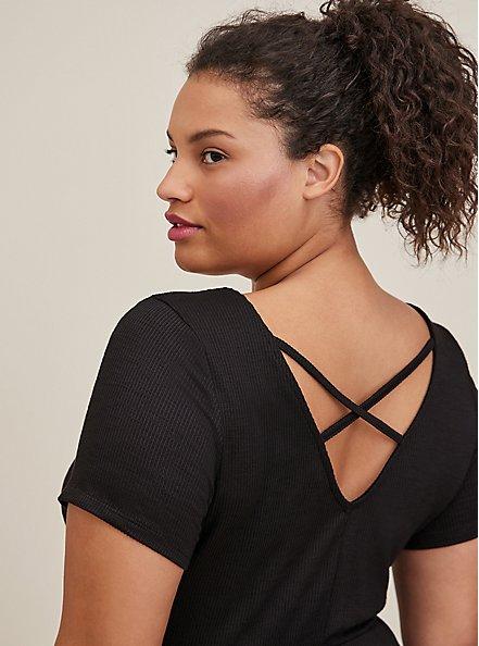 Handkerchief Skater Midi Dress - Ribbed Black, DEEP BLACK, alternate