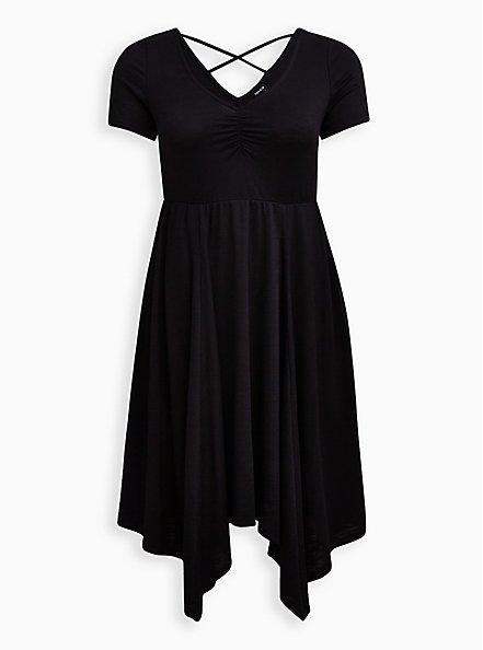 Handkerchief Skater Midi Dress - Ribbed Black, DEEP BLACK, hi-res