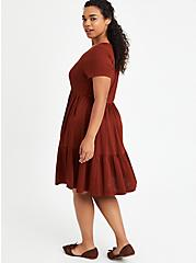 Tiered Babydoll Mini Dress - Ribbed Brown, BRANDY BROWN, alternate