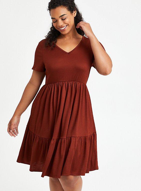 Tiered Babydoll Mini Dress - Ribbed Brown, BRANDY BROWN, hi-res