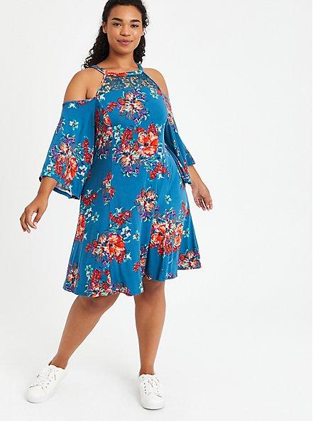 Cold Shoulder Fit & Flare Dress - Super Soft Floral Blue, FLORAL - BLUE, hi-res