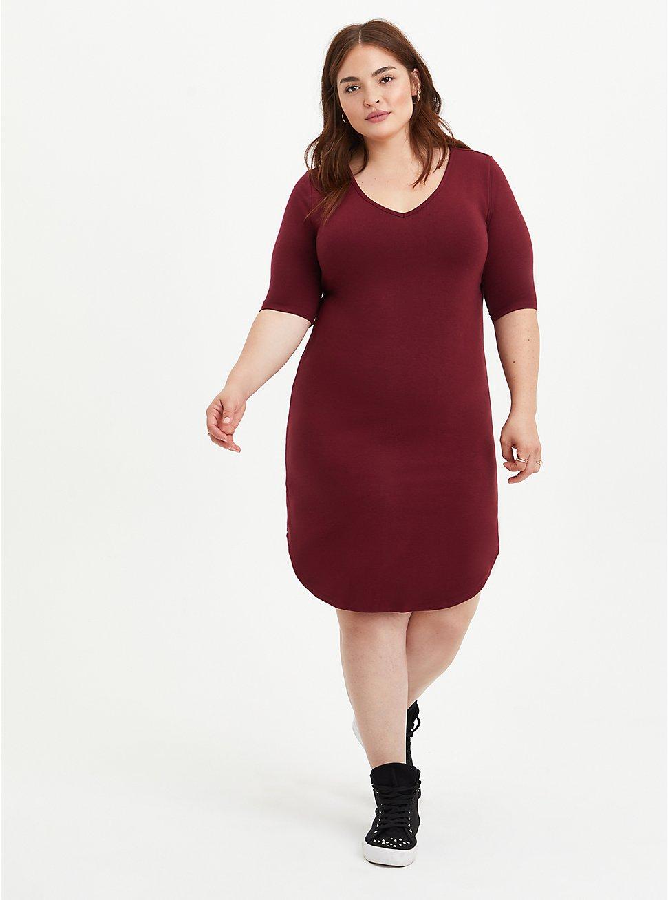 Plus Size Favorite T-Shirt Dress - Super Soft Burgundy, ZINFANDEL, hi-res