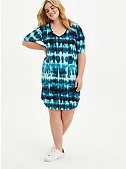 T-Shirt Dress - Jersey Tie Dye Blue, TIE DYE-BLUE, alternate