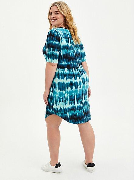 Favorite T-Shirt Dress - Super Soft Blue Tie Dye, TIE DYE-BLUE, alternate