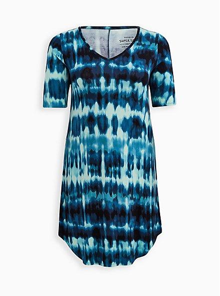 Favorite T-Shirt Dress - Super Soft Blue Tie Dye, TIE DYE-BLUE, hi-res