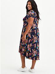 Hi-Low A-Line Dress - Super Soft Floral Navy, FLORAL - BLUE, alternate
