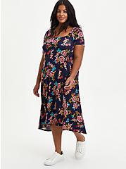 Hi-Low A-Line Dress - Super Soft Floral Navy, FLORAL - BLUE, hi-res