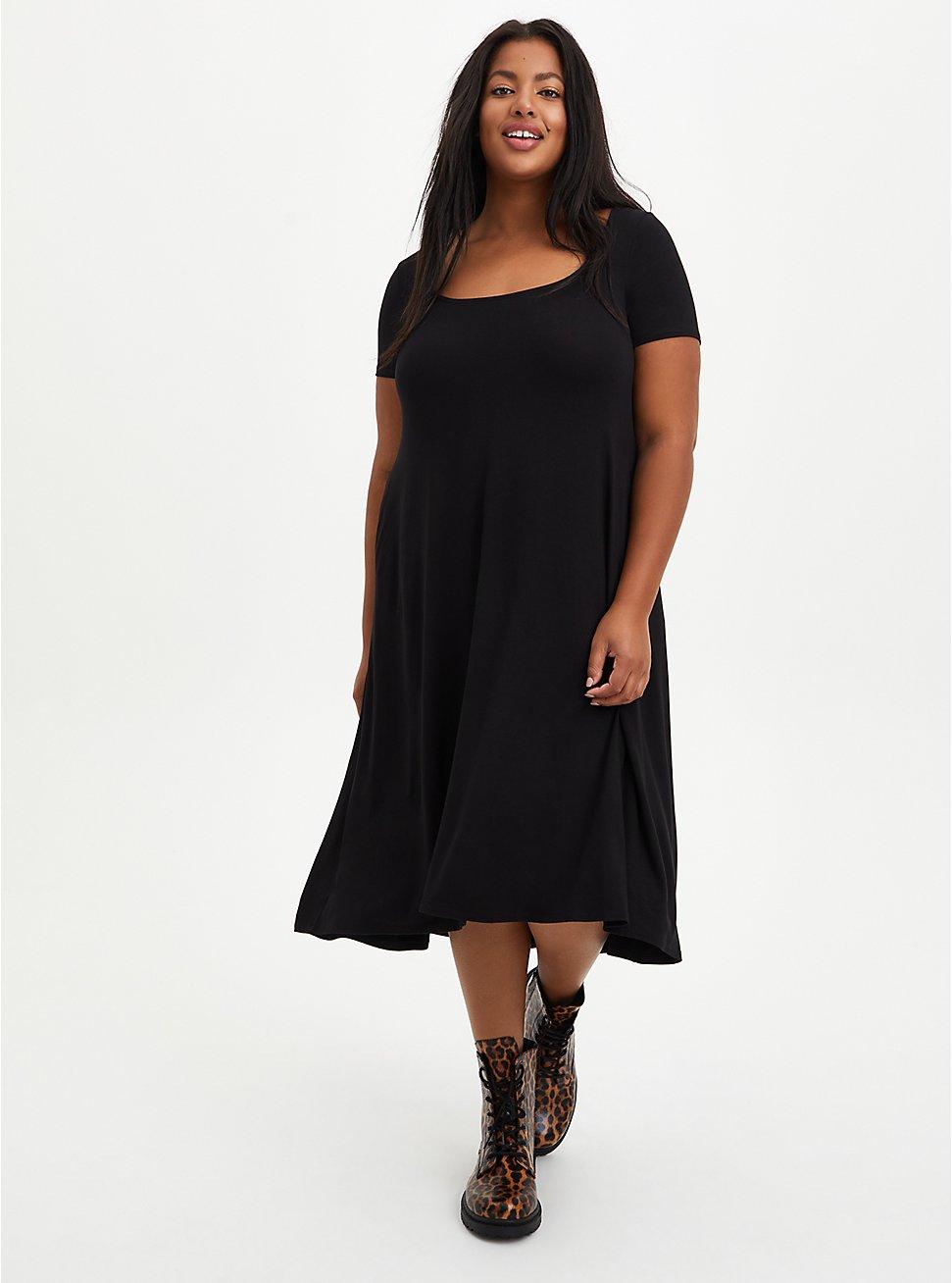 Hi-Low A-Line Dress - Super Soft Black, DEEP BLACK, hi-res