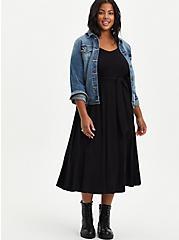 Tie Waist Midi Skater Dress - Super Soft Black, DEEP BLACK, alternate