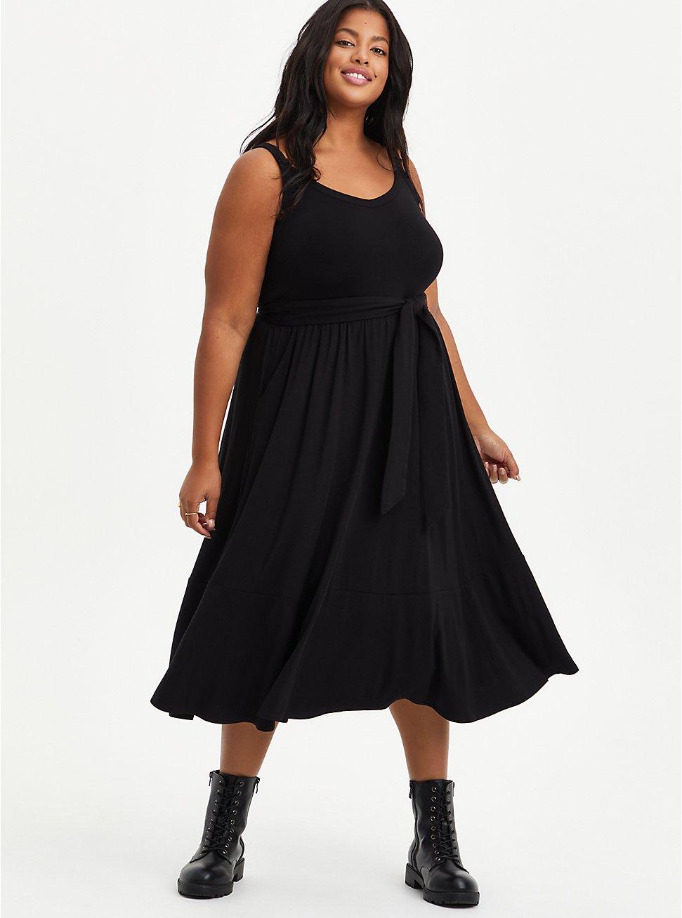 Tie Waist Midi Skater Dress - Super Soft Black, DEEP BLACK, hi-res