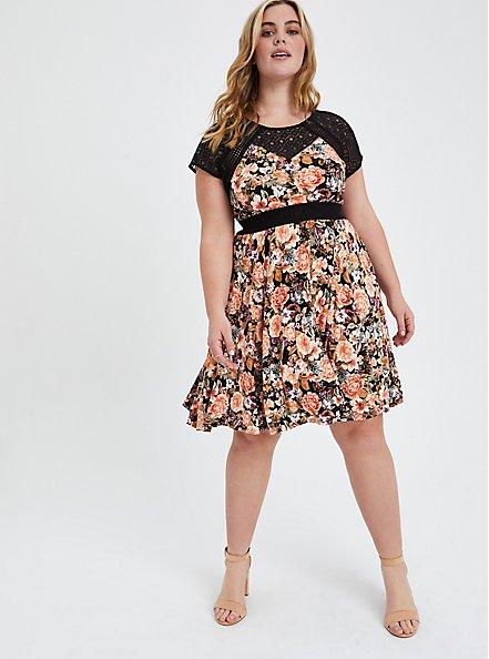 Plus Size Mini Skater Dress - Super Soft Floral Black with Lace Inset, FLORAL - BLACK, alternate