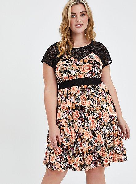 Plus Size Mini Skater Dress - Super Soft Floral Black with Lace Inset, FLORAL - BLACK, hi-res
