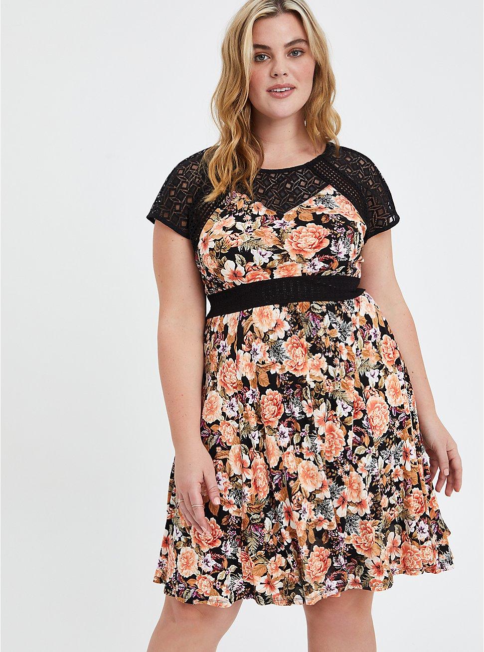 Mini Skater Dress - Super Soft Floral Black with Lace Inset, FLORAL - BLACK, hi-res