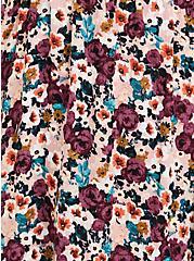 Cold Shoulder Skater Dress - Gauze Floral Black, FLORAL - PINK, alternate