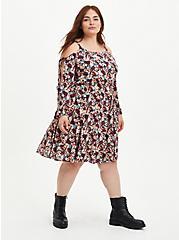 Cold Shoulder Skater Dress - Gauze Floral Black, FLORAL - PINK, hi-res