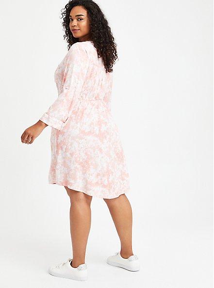 Shirt Dress - Stretch Challis Tie Dye Pink, TIE DYE-PINK, alternate