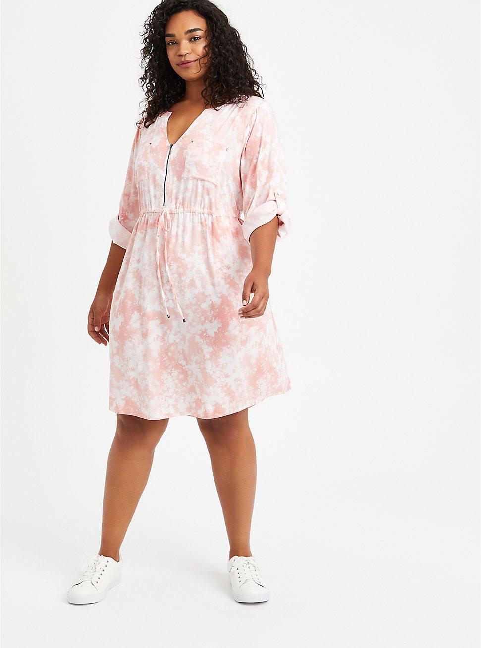 Shirt Dress - Stretch Challis Tie Dye Pink, TIE DYE-PINK, hi-res