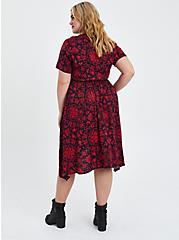 Handkerchief Shirt Dress - Stretch Challis Medallion Red, MEDALLION-RED, alternate