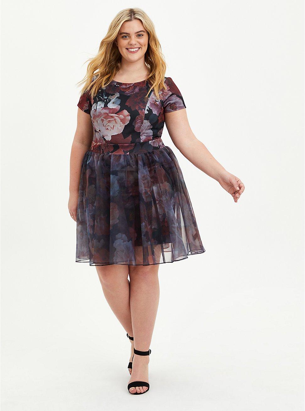 Plus Size Convertible Scuba Skater Dress - Organza Floral Black, FLORAL - BLACK, hi-res