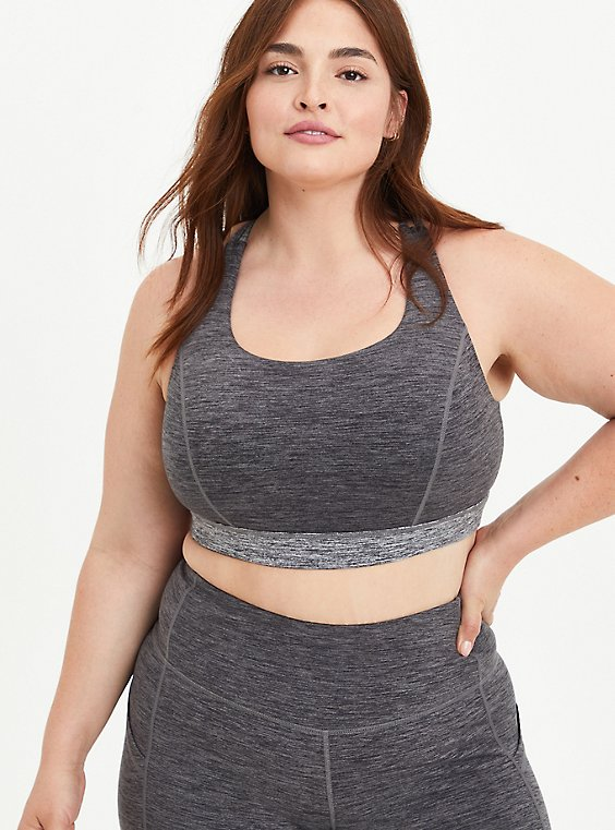 Wicking Strappy Active Sports Bra - Spacedye Brushed Grey, SPACE DYE, hi-res