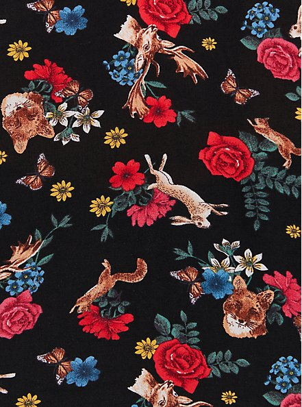 Harper Pullover Blouse - Challis Animal & Floral Black, FLORAL - BLACK, alternate