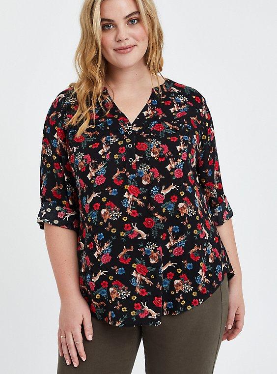 Harper Pullover Blouse - Challis Animal & Floral Black, FLORAL - BLACK, hi-res