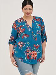 Plus Size Harper Pullover Blouse - Challis Floral Blue , FLORAL - BLUE, alternate