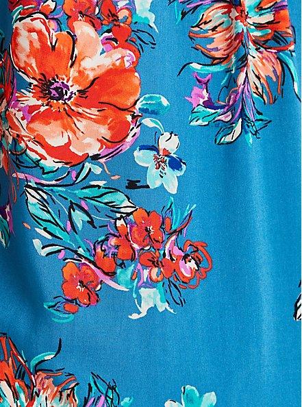Harper Pullover Blouse - Challis Floral Blue , FLORAL - BLUE, alternate